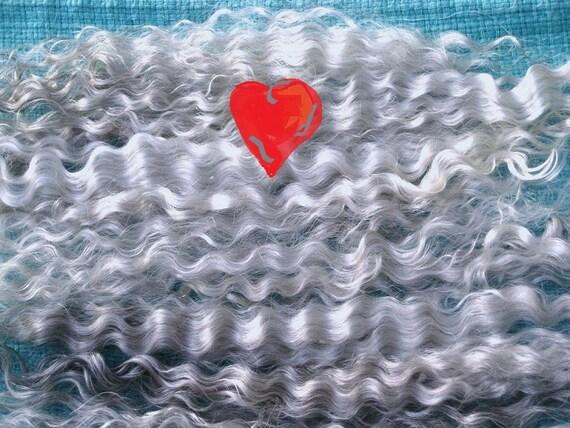 Doll Hair / Combed Angora Mohair / Natural Silver Grey Gray / NO fragrance /  Reborn / Blythe / Reroot / Wig / BJD
