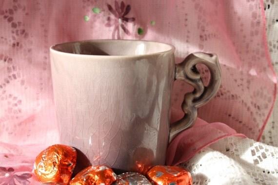 Purple Crackle Finish Soy Wax Candle Mug