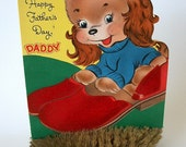 1950s Fathers Day Card, Happy Fathers Day Daddy, Unsigned Card, Unsigned Fathers Day Card, Puppy Card for Dad, Vintage Cards