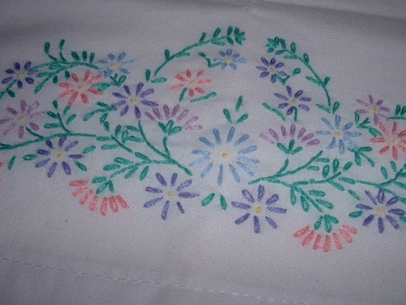 Pair of vintage embroidered pillowcases flowers