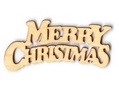 Wood Cut Out - Merry Christmas Banner - 6 Inches - 1 Piece - RR5232