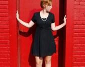 SALE Vintage Black Bow Mini Dress