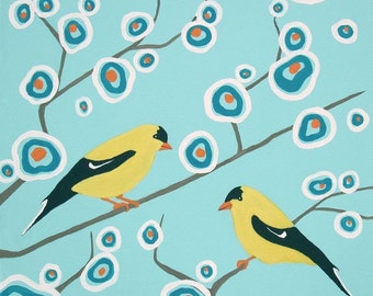 Goldfinches - Goldfinch Art - Abstract Bird - Paper - Canvas - Wood Block