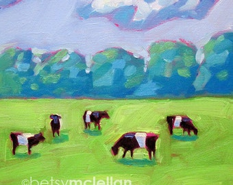 Cows - Belted Cows - Cow Art - Galloway Cows - Paper - Canvas - Wood Block - Giclee Print