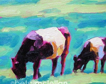 Belted Cows - Galloway Cows - Paper - Canvas - Wood Block