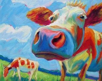 Cows - Cow Art - Cow Print - Paper - Canvas - Wood Block - Giclee Print