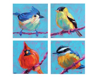 Bird Grouping - Bird Art - Paper - Canvas - Wood Block - Giclee Print