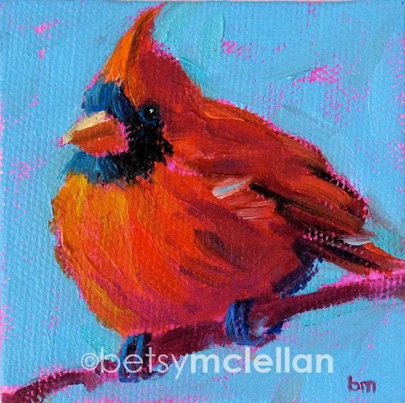 Cardinal - Cardinal Art - Bird Art - Original Mini Painting With Display Easel