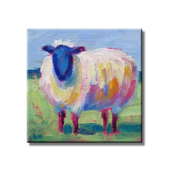 Sheep - Original Mini Painting With Display Easel