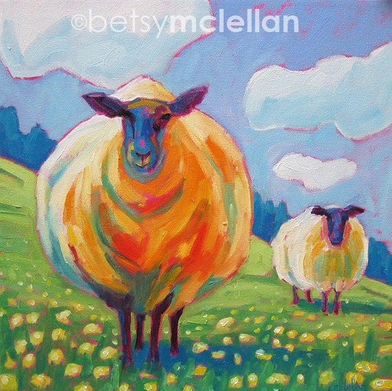 Sheep - Original Painting - 16x16