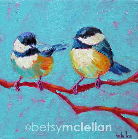 HOLD for bergeri - Chickadees - Original Painting - 10x10