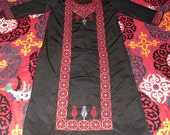 Reserved Vintage Bedouin Cross Stitch Embroidered Full Length Kaftan Black and Red