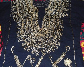 Vintage Moroccan Embroidered Kaftan top-Gold on Royal Blue