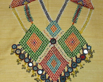 Large Vintage Tribal Afghan Beaded Bib Neck Piece with Mirrors and bells