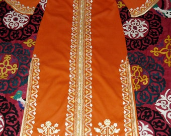 Vintage 70s Moroccan Chain Stitch Embroidered Full Length Kaftan Coat Dress Tangerine Gold and White
