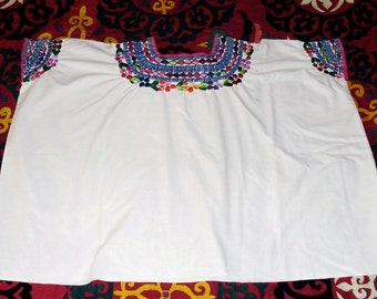 Vintage Guatemalan Hand Embroidered Huipil on Sheer Cotton Coban XS or Child size