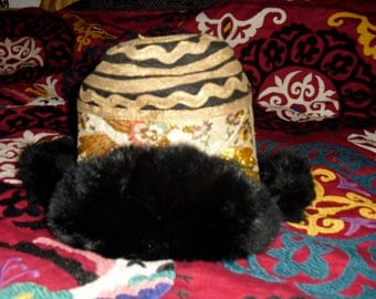Gorgeous Vintage Tibetan Hat with Fur Edges and of Gold Silk Brocade XS