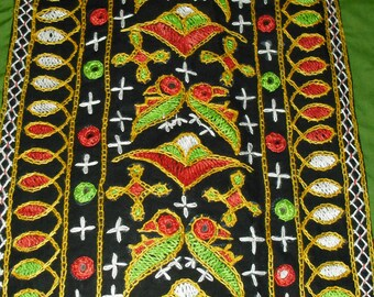 Vintage Indian Hand Embroidered Kaftan Top Love Birds Mirror Work on Black and Lime Green