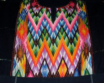 Vintage Guatemala Hand Loomed Tapestry Weave Dress-Rainbow Zig Zag on Indigo Cotton