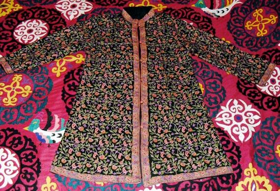 Reserved for Marine Superb Vintage Kashmir Hand Embroidered Three Quarter Length Kaftan Coat PaIsley and Flowers