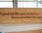 Personalized Family Name Sign Grandparent Quote Sign with names- Perfect Christmas Gift Idea - ETS-23