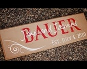 Personalized Family Name Sign Painted Established Wood Plaque Perfect Gift Idea - ETS-71