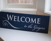 Personalized Family Welcome Sign / Painted Wood Plaque - Perfect Gift Idea - ETS-11