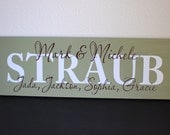 Personalized Family Name Sign Painted Wood Sign with First Names - Perfect Gift Idea - ETS-128