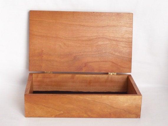 Solid Cherry Wood Jewelry Or Trinket Box