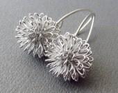 Earrings Dahlia Earrings Sterling Silver Modern design silver wire ball earrings - Similar to Dandelion Earrings