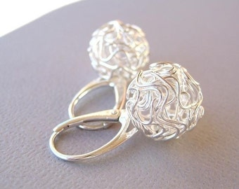 MIA Silver Ball Earrings Sterling Silver Wire Wrapped European Design with Unique Leverback