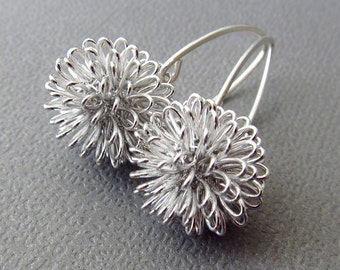 Earrings Dahlia Earrings Sterling Silver Modern design silver wire ball earrings - Similar to Dandelion Earrings