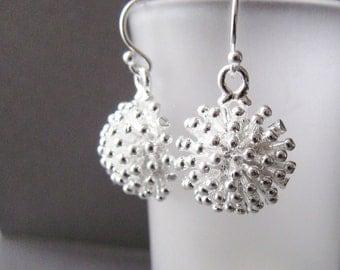 Dandelion Earrings, Silver Earrings, Sterling Silver short earrings, Flower earrings, simple silver earrings, modern jewelry by CuteJewels