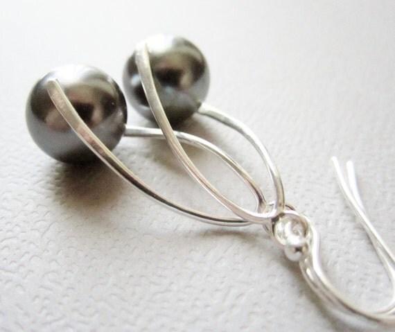 Dark Tahitian Pearl Earrings South Sea Sterling Silver 925