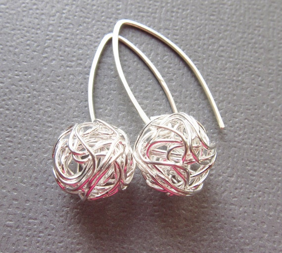 Sterling Silver Earrings European design - wire tangled ball drop