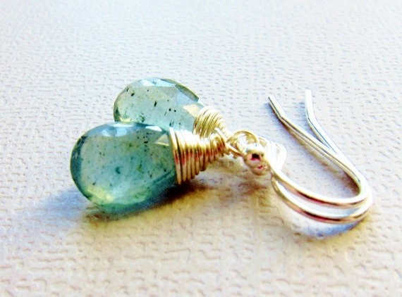 Moss Aquamarine Earrings Sterling Silver Wire Wrapped, Semi precious stone, Sea Green