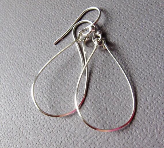 Teardrop Earrings Sterling Silver Sleek Modern Drop Earrings Contemporary Design by CuteJewels