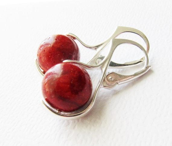 Natural Coral Earrings Sterling Silver European Earwire - Organic Simple Dangle by CuteJewels