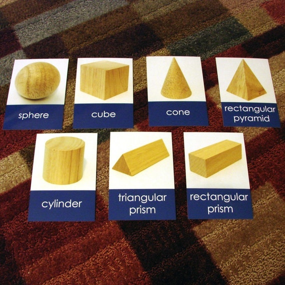 Wooden Geometric Solids 3-Part Cards (Wooden Solids Not Included in This Listing)