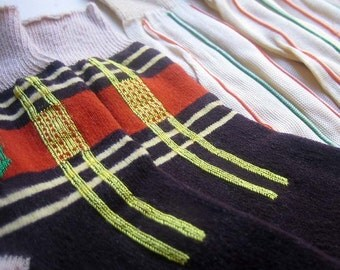 Vintage Boys Socks 1940s Mid Century Plaid Striped Orange Brown Tan Beige Green