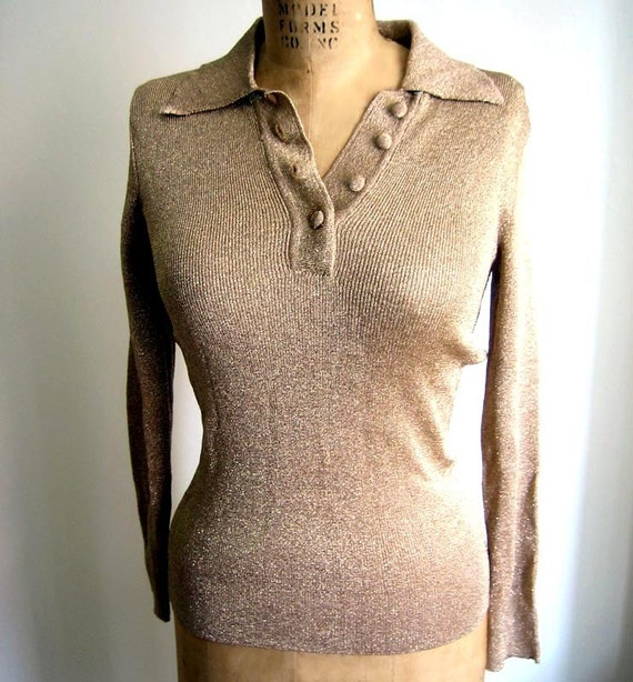 Vintage 1970s B Altman Gold Lurex Womens Sweater