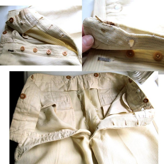 Mens Early 20th Century Antique Cream Wool Trousers