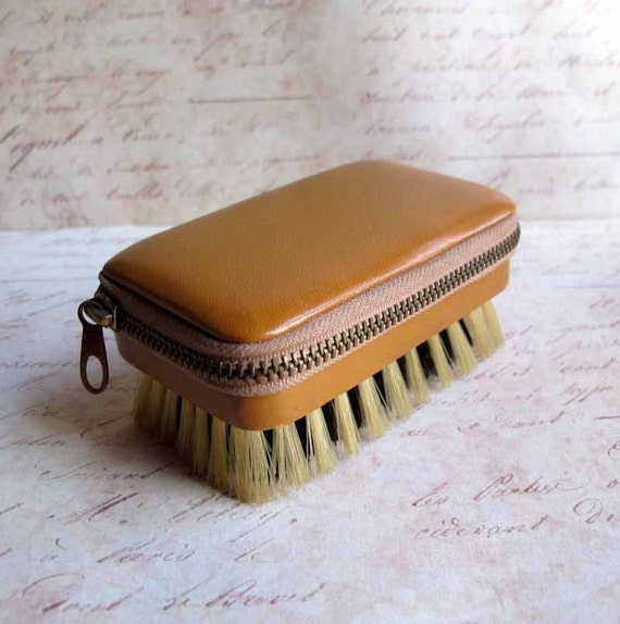 Vintage Caramel Leather Mens Grooming Nail Brush Kit West Germany Mad Men