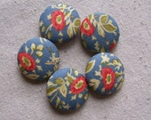Cornflower Blue and Coral Floral Button Set