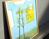 D E S E R T summer original framed painting on wood