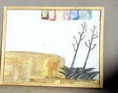 T W O century plants framed mixed media painting on wood