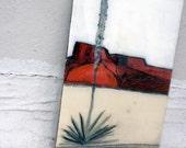 Sol Tol en route to Presidio, TX, original painting on wood