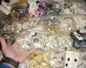 over 7lbs of buttons - new old vintage antique - M.O.P. mother of pearl glass metal plastic