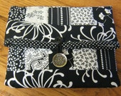 Black and White Fold Over Clutch Purse or Sewing Bag