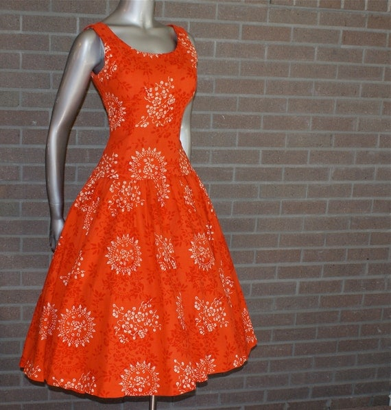 Vintage 50's Stunning Burnt Orange Pin Up Circle Dress with Drop Waist and Full Skirt- Pretty Rockabilly- PARADE of New York